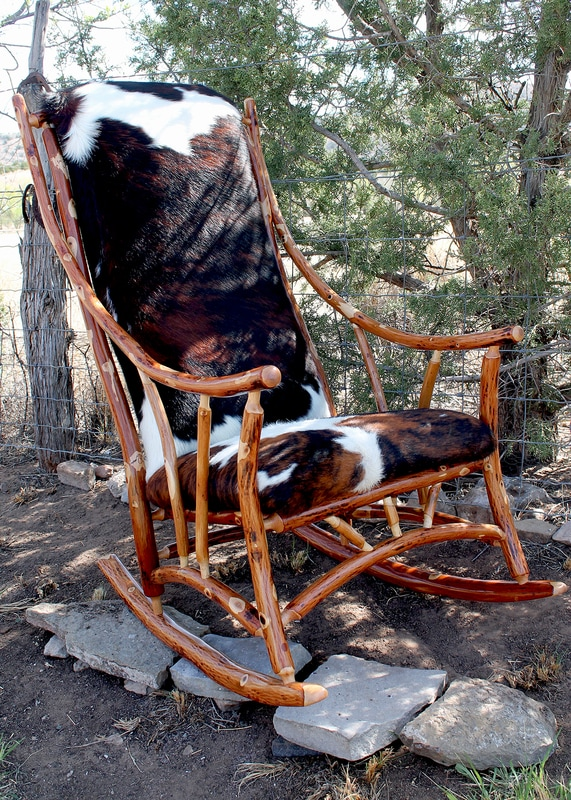 Hickory Rocking Chair with cow hide seat